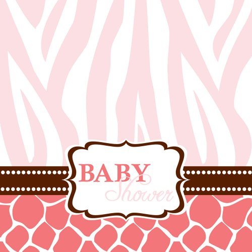 (Creative Converting Baby Shower Wild Safari Pink 16 Count 3-Ply Paper Lunch Napkins)