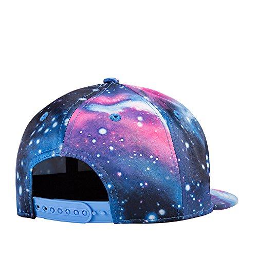 0f9dd886723 Quanhaigou Galaxy Snapback Unisex Hat Hip Hop Plaid Flat Brim Adjustable  Baseball Cap Blue