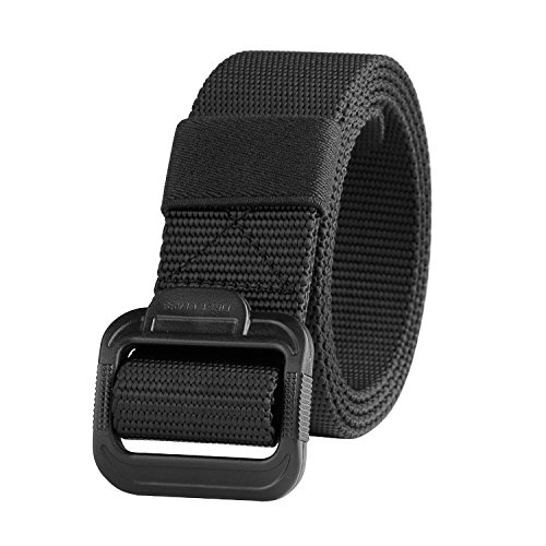 JASGOOD Nylon Canvas Breathable Military Tactical Men Waist Belt With Plastic Buckle (Suit waist under 41'', 9 Black waist under (Mens Gift Belt Buckle)