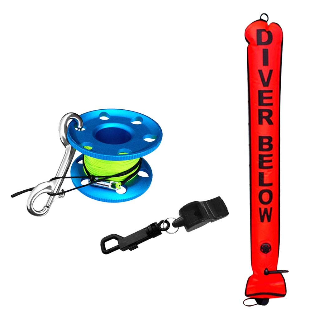 CUTICATE Scuba Diving SMB Marker Tube Safety Sausage & Dive Reel Finger Spool + Safety Whistle - High Visible & Versatile