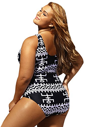 bd3d3737c4e Women s Sexy Print Lace Up V Neck One Piece Swimsuit Monokini Swimwear  Bathing Suits Plus Size