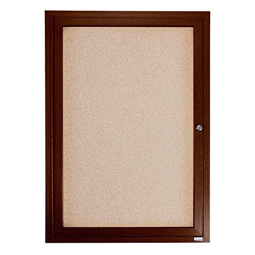 TableTop King WBC2418R 24'' x 18'' Enclosed Hinged Locking 1 Door Bulletin Board with Walnut Finish by TableTop King