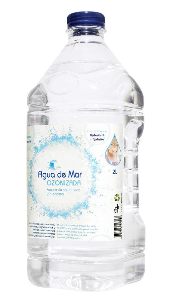 AGUA DE MAR OZONIZADA. Botella de 2 litros de Agua de Mar con Ozono. Bebida saludable e indispensable para cocinar (realza sabores, aporta nutrientes ...
