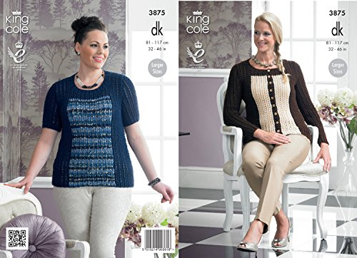King Cole Ladies Double Knitting Pattern Womens DK Lace Rib Cardigan & Sweater 3875