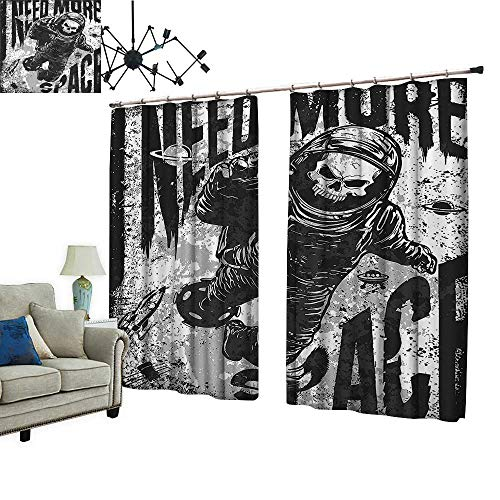 PRUNUS Fashion Window Curtain with hookSkull in Spaceman Suit Over Grunge Background Dead Spooky Halloween Theme Radiation Protection,W84.3 xL108 ()