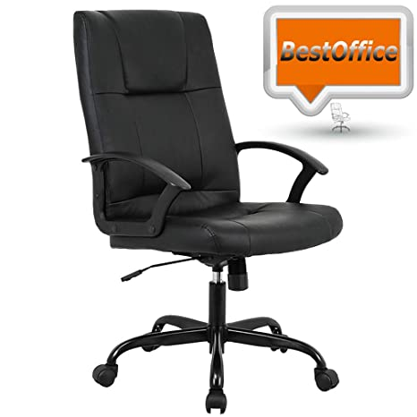 Mid Back Office Chair PU Leather Desk Chair Task Computer Chair Rolling  Swivel Adjustable Stool Executive Chair with Lumbar Support Armrest for ...