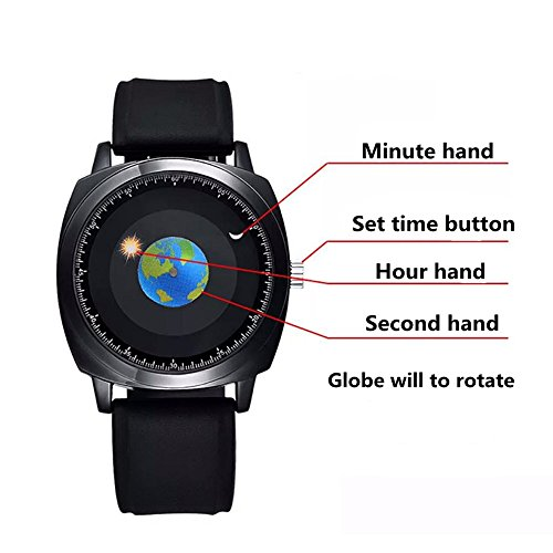 minilujia graduation gift earth globe moon sun rotating moving eye catching perdonalized cool unique watch