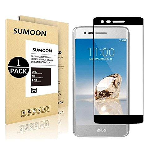 LG Aristo (MS210) / LG LV3 / LG K8 2017, SUMOON [Full Cover] [Tempered Glass] [Anti-Scratch] [Bubble Free] Ultra Thin HD Clear 9H Hardness Shockproof Clear Screen Protector (1 Pack)