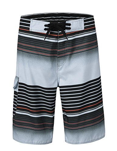 Unitop Men's Summer Holiday Stripped Quick Dry Board Shorts Gray 30