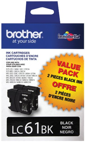 Brother LC61BK 2 Pack Black Ink Cartridges (Brother Printer Ink Lc61)