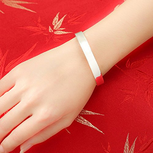 S999Argent sterling Bracelet Surface polie 27g pour le cadeau