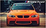 bmw m power - BMW M BMW Power windscreen decal 1400mm x 200mm (black and white with color stripes)