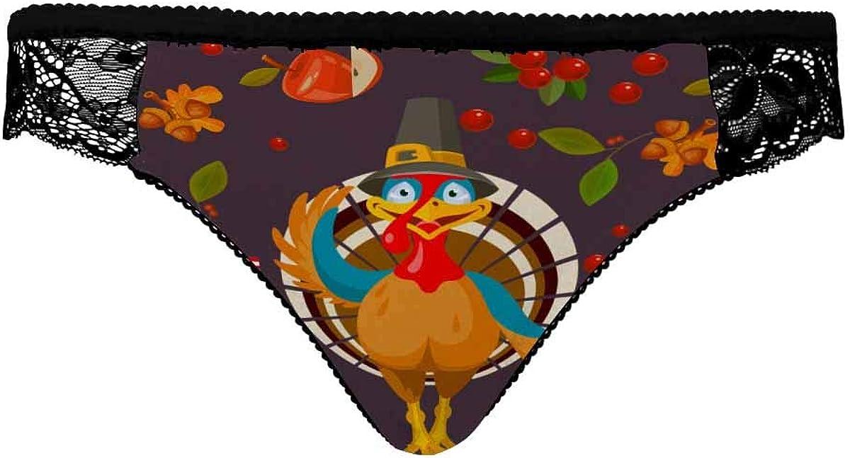 INTERESTPRINT Womens Soft Stretch Regular Rise Hipster Happy Thanksgiving Day Turkey