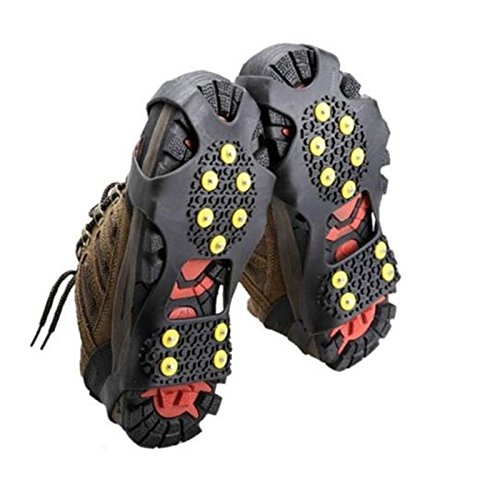 Jiayuane 1PCS 10 Teeth Anti-slip Ice snow Grips Walk Traction Cleats Snow Ice Spikes for winter security