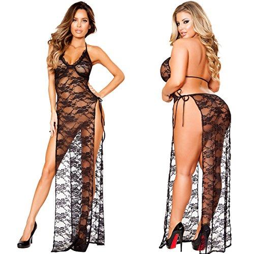 Kinikiss Donna Babydoll Trasparente Lingerie Sexy Hot Lace Intimo Lingerie Pigiama con G-string Nero