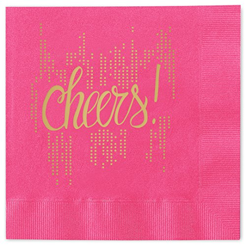 Magenta Beverage Napkins - Bubbly Cheers Beverage Cocktail Napkins - Set of 25 magenta pink paper napkins with gold foil