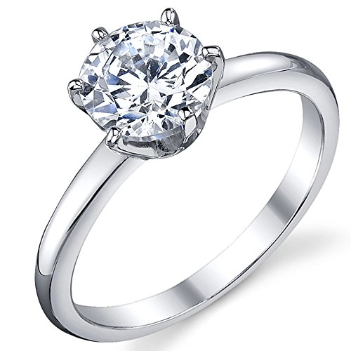 1.25 Carat Round Brilliant Cubic Zirconia CZ Sterling Silver 925 Wedding Engagement Ring Size 4 to 11