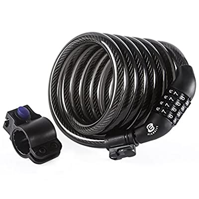 Etronic Security Bike Lock M6 Self Coiling Resettable Combination Lock Bike Cable Lock, 6-Feet x 3/8-Inch