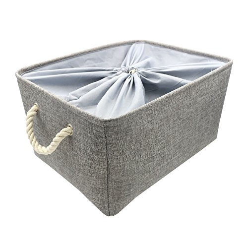 Kernorv Gray 100% Natural Cotton Linen Storage Bins Organizer Large Foldable Square Laundry Hampers with Rope Handles for Nursery, Kitchen, Bathroom, Car