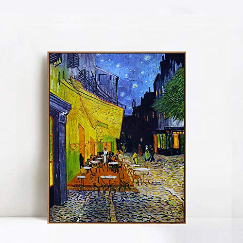 INVIN ART 100% Hand Painted Framed Canvas The Cafe Terrace on The Place de Forum in Arles at Night, 1888 by Vincent Van Gogh,Famous Oil Paintings Reproduction Art (Champagne Slim Frame,28