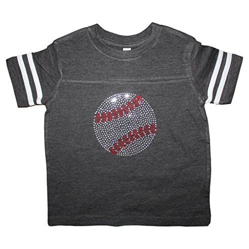 FanGarb Girls Rhinestone Bedazzled Charcoal Grey Baseball tee Shirt 10yr (Youth Med)