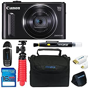 Canon PowerShot SX610 HS with 18x Optical Zoom and Built-In Wi-Fi + 16GB Memory Card + Pixi-Basic Accessory Bundle