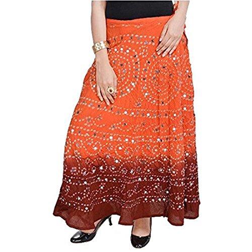 Ornage Bandhej Orang Cotton Handicrfats Export Mehrun Women Skirt SMSKT533 Indian FqxIBfn1wT