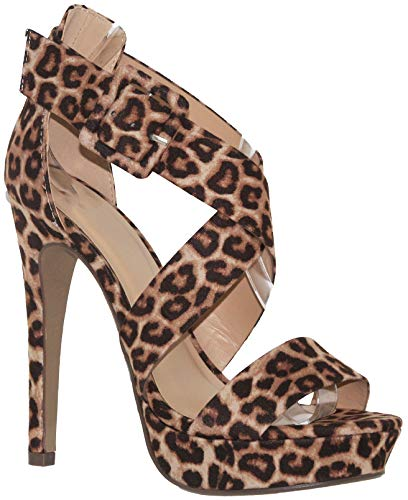MVE Shoes Women's Open Toe Strappy High Heel Sandals, Summer Natural -