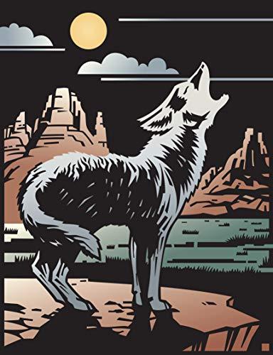 Beautiful Coyote Howling at Moon Desert Drawing Cartoon Vinyl Sticker (8