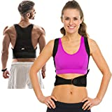 Thoracic Back Brace Posture Corrector - Magnetic Support for Back Neck Shoulder and Upper Back Pain Relief Perfect Posture Brace for Cervical and Lumbar Spine Fully Adjustable Belt and Straps (Black)