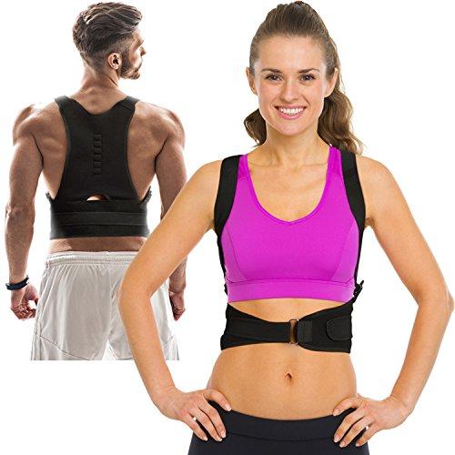 Thoracic Back Brace Posture Corrector - Magnetic Support for Back Neck Shoulder and Upper Back Pain Relief Perfect Posture Brace for Cervical and Lumbar Spine Fully Adjustable Belt (Black - Large)