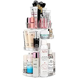 Jerrybox 360 Degree Rotating Makeup Organizer; Adjustable, Multi-Function Cosmetic Storage Box; Fits Different Types of Cosmetics and Accessories; Tower Model, Clear Transparent