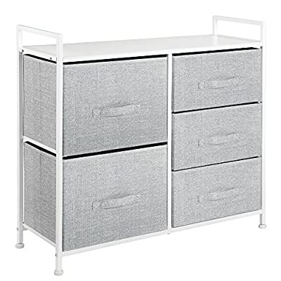 InterDesign 05453 Aldo Fabric 5-Drawer Tall Dresser and Storage Organizer for Bedroom, Dorm, Small Living Spaces - Gray/White - VERSATILE STORAGE SOLUTIONS Offers two deep storage bins for storing clothes, blankets and other home accessories; Three smaller side drawers are great for sweaters, socks, underwear, bras, t-shirts, baby clothes, hats, gloves, purses, scarves, accessories and more STYLISH FOR ANY ENVIRONMENT A perfect balance between modern design and high functionality with its neutral gray pattern accented by its durable white frame and sturdy top surface PERFECT FOR TIGHT SPACES Great for adding more storage space in compact living areas like a bedroom, nursery, dorm room, craft room, and even in the laundry room - dressers-bedroom-furniture, bedroom-furniture, bedroom - 51ViHd5jqJL. SS400  -