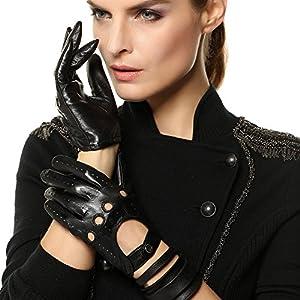 Elma Tradional Women's Italian Nappa Leather Gloves Motorcycle Driving Open Back (XL, Black)