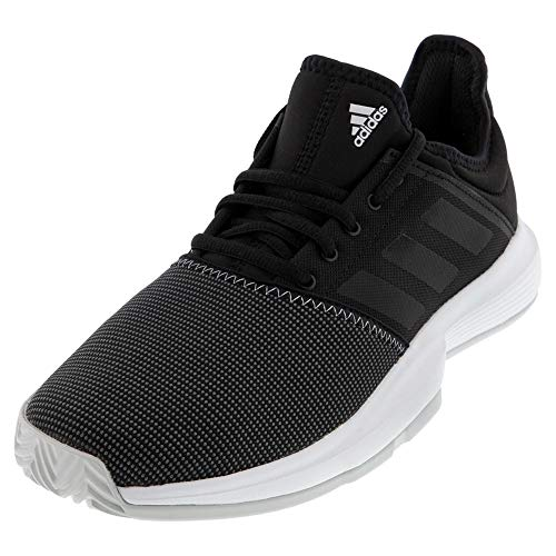 adidas Men's GameCourt Wide Tennis Shoe, Black/Light Grey Heather, 10.5 W US