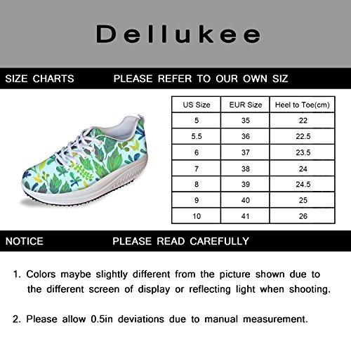 Dellukee Courir Baskets Femmes Athlétique Mignon Sport Léger Marche Sneaker Chaussures Vert