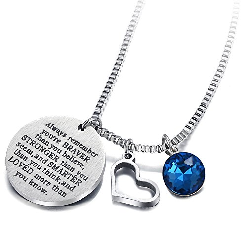 - 17mile September Birthstone Necklace Stainless Steel Engraved Hypoallergenic Heart Zirconia Necklace Charm for Woman Man Girl Mother