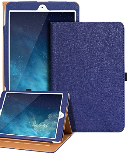 iPad 9.7 2018 Case / iPad Air 2 / iPad Air Case,SKYLMW Folio Leather Case Cover with Three Slots Stand,Front Document/Card Pocket,Convenient Pen Holder,Full-Body Anti-Slip Protective Case,Blue (Front Slot Pocket)