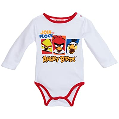 Body bébé manches longues Angry birds blanc/rouge 18mois