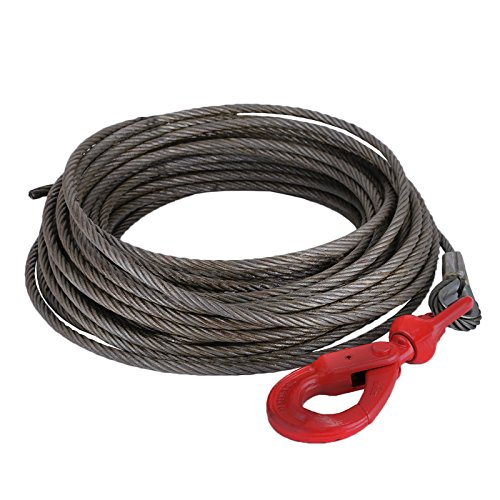 "LOVSHARE 3/8"" 75 FT Wire Rope 2T Steel Core Winch Cable with Self Locking Swivel Hook Steel Cable for Tow Truck Flatbed (75 FT) by LOVSHARE"
