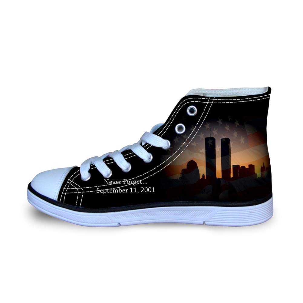 Canvas High Top Sneaker Casual Skate Shoe Boys Girls American Flag Twin Towers Never Forget 911