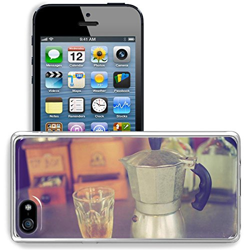 Luxlady Apple iPhone 5/5S Clear case Soft TPU Rubber Silicone Bumper Snap Cases iPhone5/5S IMAGE ID: 34010862 coffee maker espresso machine on the table wood vintage color