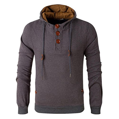Men 's New Hooded Sweater,Morecome Autumn And Winter Men's Even Sweater (L, Khaki)