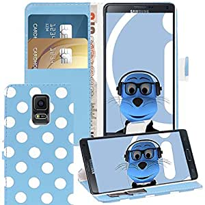Blue White Polka Dots Samsung Galaxy Note 4 SM-N910P Case Durable PU Leather Book Style Wallet Cover with Credit / Business Card Holder and Horizontal Viewing Stand
