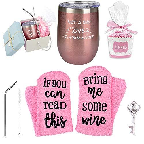 Not a Day Over Fabulous Wine Tumbler + Socks Gift Set