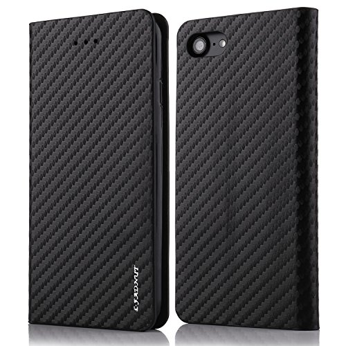 for iPhone 5S SE 5 Case,L-FADNUT Premium Carbon Fiber Lines Flip PU Leather Case,Magnetic Closure with Stand Wallet Card Slot Protective Bumper Silicone Cover Black