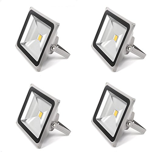 4pack 50W Outdoor LED Flood Lights, 4000lm, Floodlight, 6500K Daylight White, 120V, Waterproof, Security Lights, Flood Fixture, 250W Halogen Equivalent (Bowfishing Led Lights compare prices)