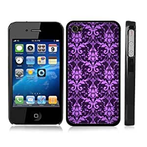 Damask Pattern Purple Snap-On Hard Black Carrying Case for iPhone 4/4S
