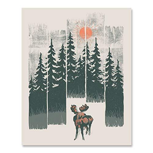 (Moose Wilderness Art Print - Outdoor Wildlife Inspiration Wall Art Forest Landscape Nature Lover Wall Decor Calming Woodland Animals Sunshine Trees Mountains Lake Home Decor 18 x 24 Unframed)