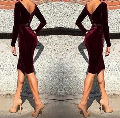Rouge Fashion Manches Moulante Package Fte Mode Longues Simple Robes Hanche Robe Col Robe Nu Soire Femmes Vin Cocktail Midi Sexy Dos de Classique Velour Printemps Automne Rond fddwRFq